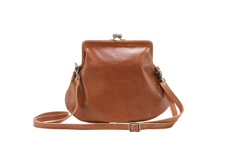 motte wooden clasp Gamaguchi purse / brown