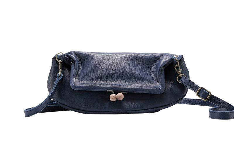 motte wooden clasp Gamaguchi purse / navy