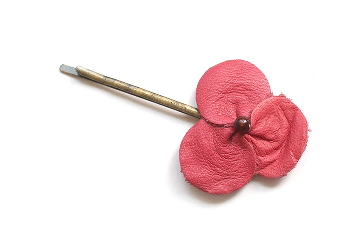 Three flowers hairpin / red
